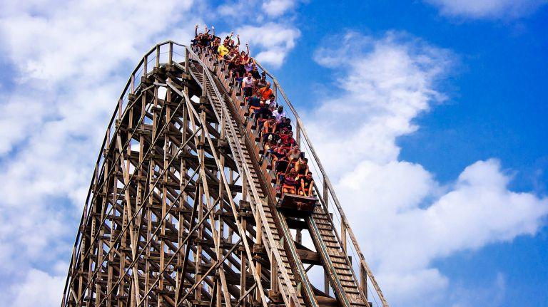 Roller coaster heading downwards.