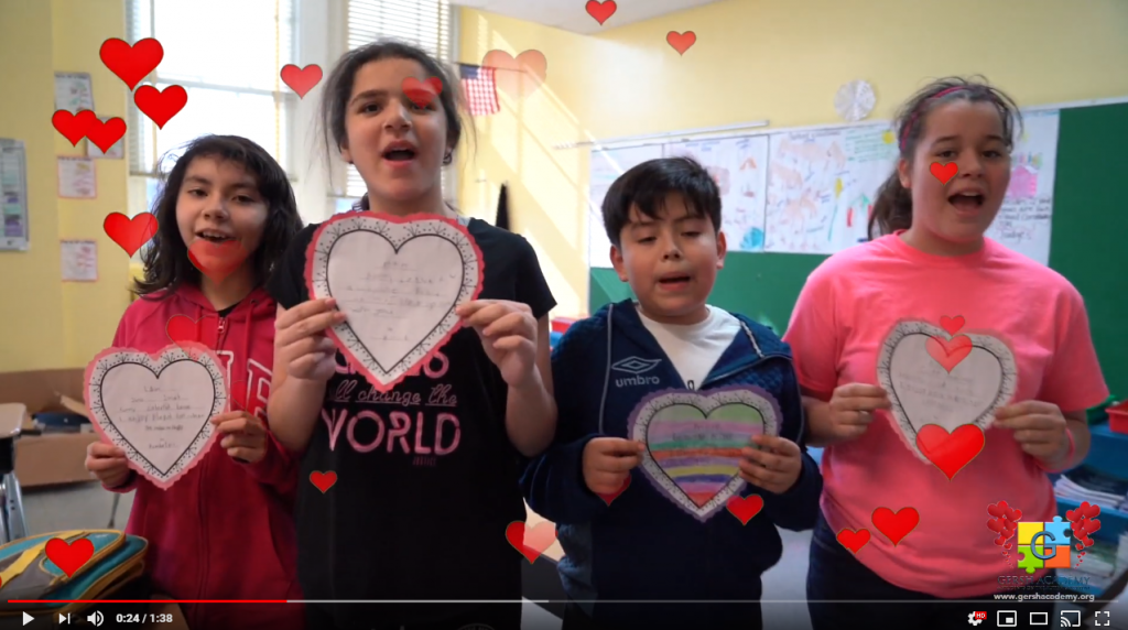 Gersh Students Holding Hearts During Valentines Day