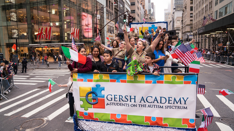 Gersh Academy Students and Staff on the Parade Float in NYC