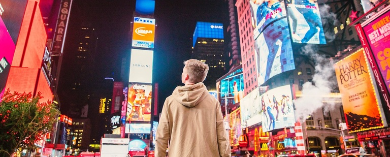 Student Standing in Times Square